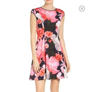 Vince Camuto Scuba Fit  Multi Floral Frare dress